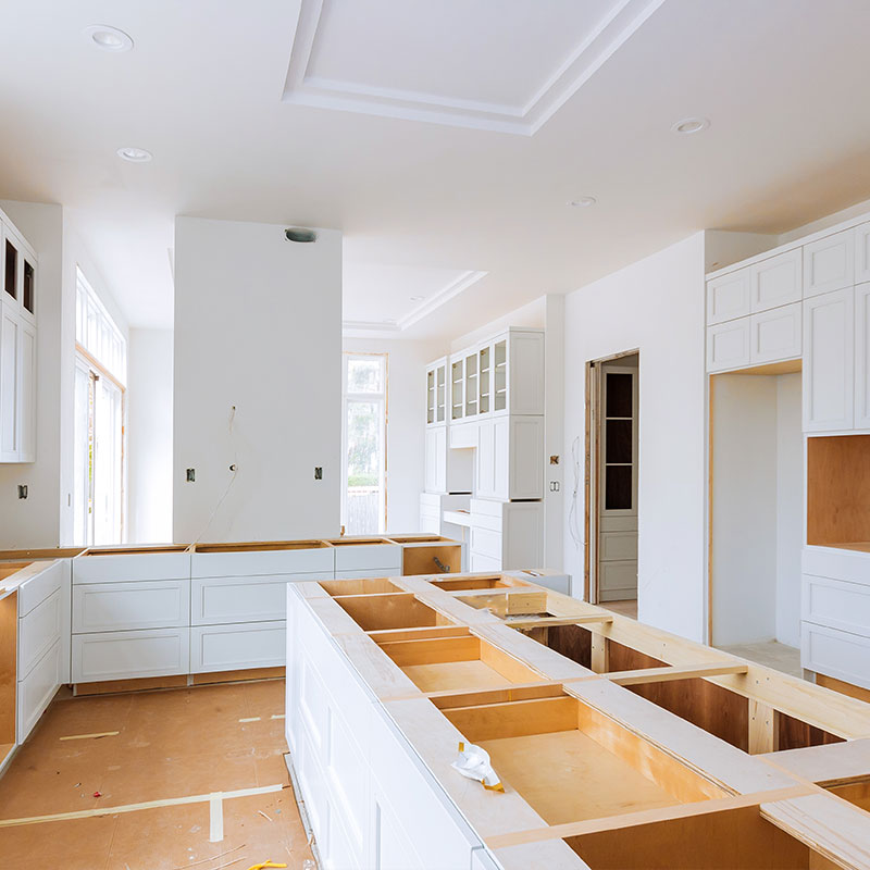 A counter and cupboard remodel in a kitchen; part of Distinct's property management services